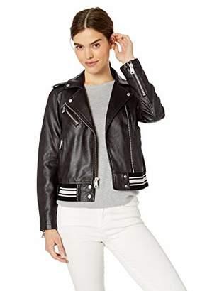 Levi's Ladies Outerwear Women's Contrast Knit Faux Leather Moto Bomber Jacket