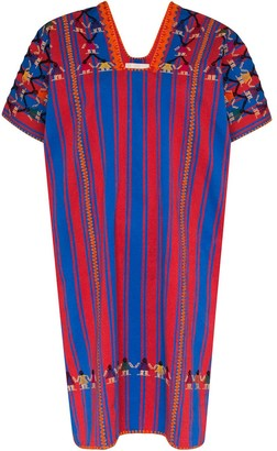 Pippa Holt embroidered striped cotton kaftan