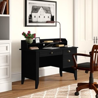 Three Posts Ishaan Executive Desk With Hutch Color: Black