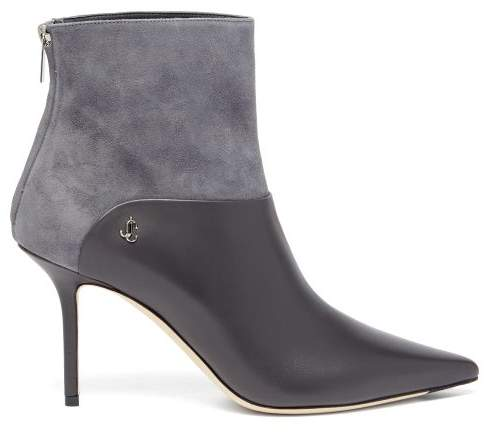 Jimmy Choo Beyla 85 Leather And Suede Ankle Boots - Womens - Grey