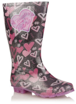 George Hearts By Tiana Silver Glitter Wellington Boots