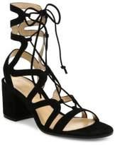 Gianvito Rossi Suede Lace-Up Block-Heel Sandals