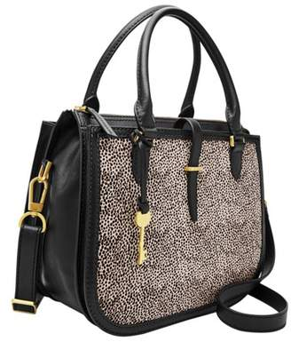 Fossil Ryder Satchel Handbags White Cheetah