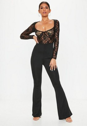 Missguided Black Lace Cupped Romper