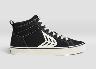 Cariuma CATIBA High Stripe Black Suede and Canvas Contrast Thread Sneaker Men