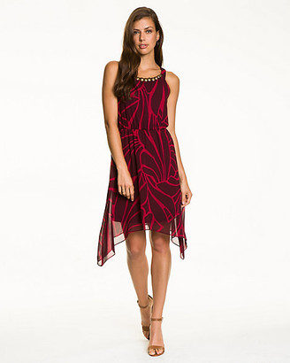 Le Château Tropical Print Chiffon Scoop Neck Dress