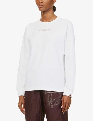 BAPE Leopard branded long-sleeved cotton-jersey T-shirt
