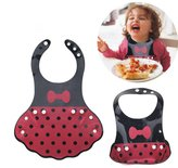 Little Mouse Princess Bow and Dot Silicone Roll up Bib with Comfort-fit Fabric Neck/ Waterproof Silicone Bib Easily Wipes