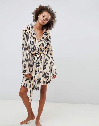 Asos Design DESIGN leopard super soft robe with ears-Multi