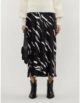 Reformation Pratt graphic-print silk-satin midi skirt