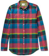 Paul Smith Slim-fit Checked Cotton And Linen-blend Shirt - Multi