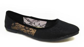 Delic8 DELIC8 Women's Ballet Flats BLACK - Black Lace Pleasure Flat - Women