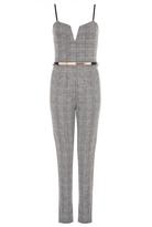 Quiz Grey Check V Bar Belt Jumpsuit