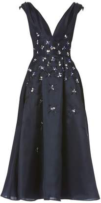 Carolina Herrera Embellished Silk Cocktail Dress