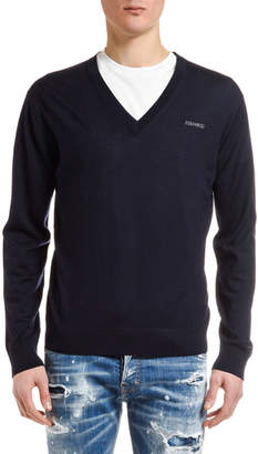 DSQUARED2 Men's V-Neck Wool Sweater