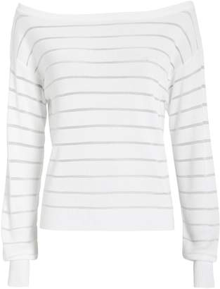 Intermix Striped Boat Neck Ribbed Sweater