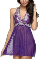 CAPSS Women Halter Lingerie Enchanting Satin Mini Dress Lace Babydoll / 5XL