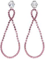 Miu Miu Silver and Pink Large Crystal Teardrop Earrings