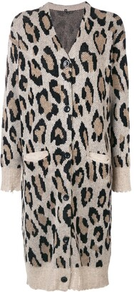 R 13 cashmere long leopard cardigan