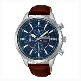 Pulsar Men'S Brown Blue Dial Solar Chronograph Leather Strap Watch Pz6015
