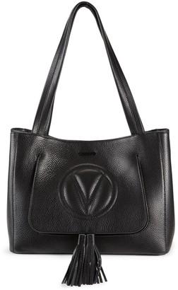 Mario Valentino Estelle Tassel Pebbled-Leather Tote