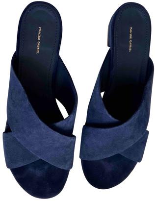Mansur Gavriel Blue Suede Sandals