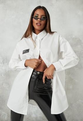 Missguided White Poplin Oversized Longline Shirt