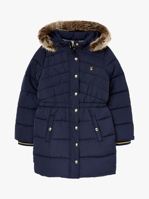 Joules Little Joule Girls' Hartwell Mid Length Padded Coat, Navy
