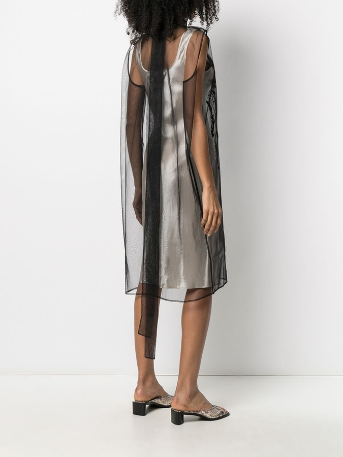 Thumbnail for your product : Acne Studios Semi-Sheer Logo Embroidered Shift Dress