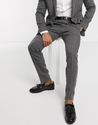 Shelby & Sons slim suit trousers in grey with pinstripe