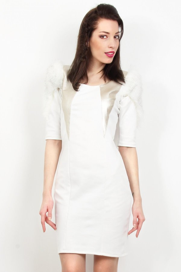 Carnet de Mode Zoe Phobic White Dress with Faux Fur Inserts Signac