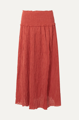 Zimmermann Veneto Shirred Crinkled Ramie And Cotton-blend Gauze Maxi Skirt - Brick