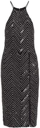 Alice + Olivia Ferne Embellished Zip-Slit Dress