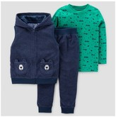 Just One You made by carter Toddler Boys' 3pc Fleece Hooded Vest Set - Just One You Made by Carter's® Heather Blue/Green