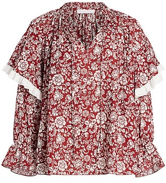See by Chloe Floral Ruffle Shoulder Blouse