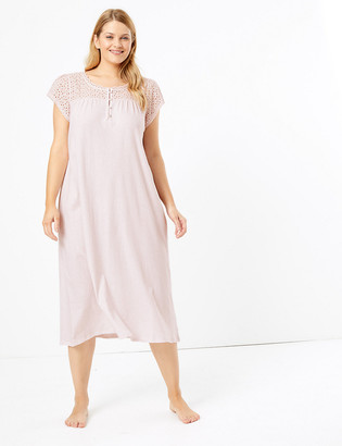 Marks and Spencer Pure Cotton Broderie Long Nightdress