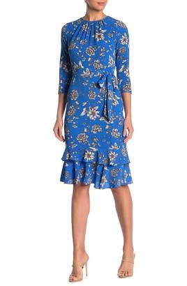 Maggy London Floral 3/4 Sleeve Ruffled Sheath Dress