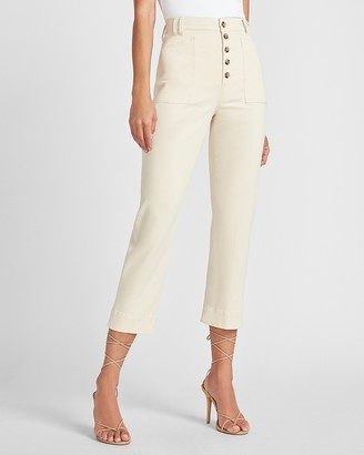 Express Super High Waisted Button Front Cropped Straight Pant