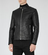 Reiss Native - Leather Biker Jacket in Black, Mens