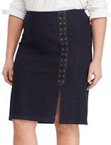 Lauren Ralph Lauren Plus Lace-Up Denim Pencil Skirt