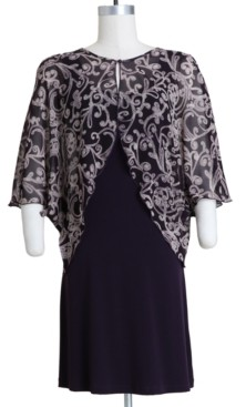 Connected Plus Size Chiffon-Overlay Dress