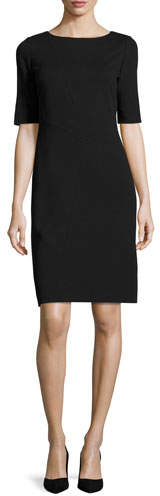 Lafayette 148 New York Asymmetric-Seamed Punto Milano Sheath Dress, Plus Size