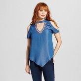 3Hearts Women's Embroidered Choker Cut Out Cold Shoulder Top - 3Hearts (Juniors') Blue