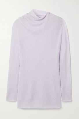 Rosetta Getty Draped Ribbed Wool-blend Sweater - Lilac