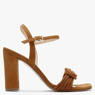 Daniel Amana Tan Leather Knotted Block Heel Sandals