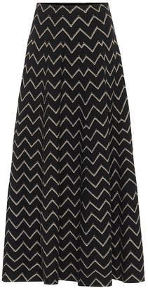 Alaia Metallic jacquard knit midi skirt