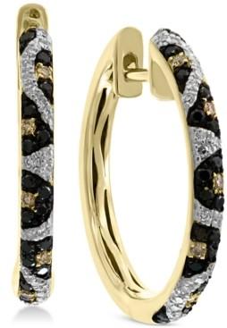 Effy Multi-Color Diamond Animal Print Hoop Earrings (3/8 ct. t.w.) in 14k Gold