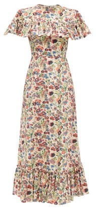 The Vampire's Wife The Bombette Ruffled Floral-print Cotton Dress - Red Multi
