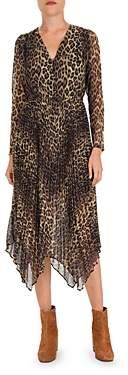 The Kooples Pleated Leopard Print Midi Dress