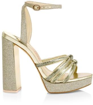 Sophia Webster Glitter Metallic Lizard-Embossed Leather Platform Sandals
